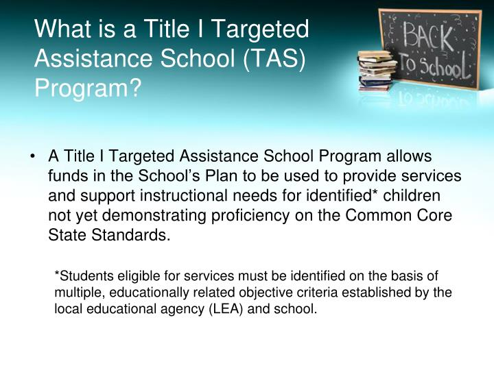 What is a Title I Targeted Assistance School (TAS) Program?