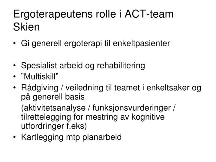 Ergoterapeutens rolle i ACT-team Skien