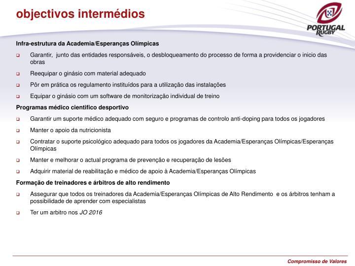 objectivos intermédios