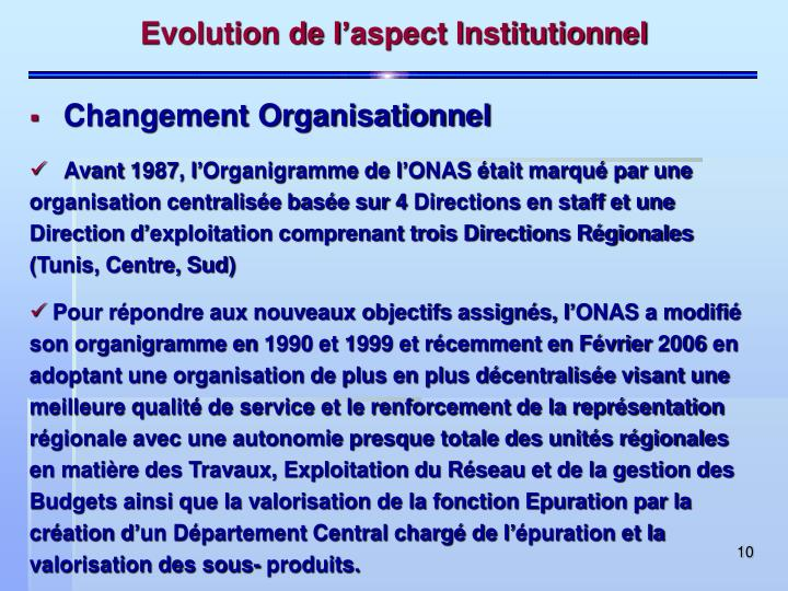 Evolution de l'aspect Institutionnel