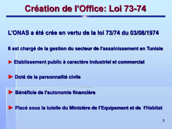Création de l'Office: Loi 73-74