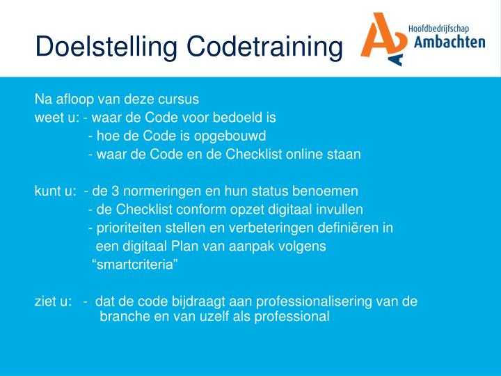 Doelstelling Codetraining