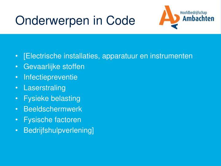 Onderwerpen in Code