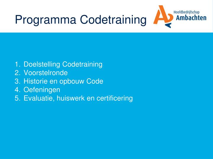 Programma Codetraining