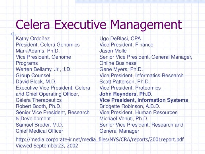 Celera Executive Management