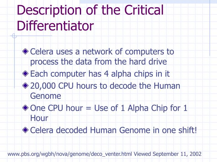Description of the Critical Differentiator