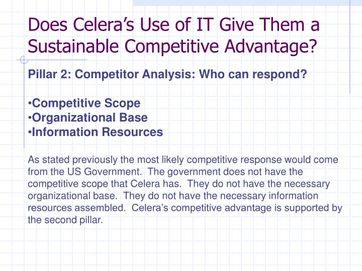 Does Celera's Use of IT Give Them a Sustainable Competitive Advantage?