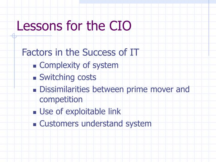 Lessons for the CIO