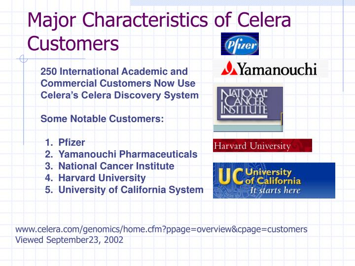 Major Characteristics of Celera Customers