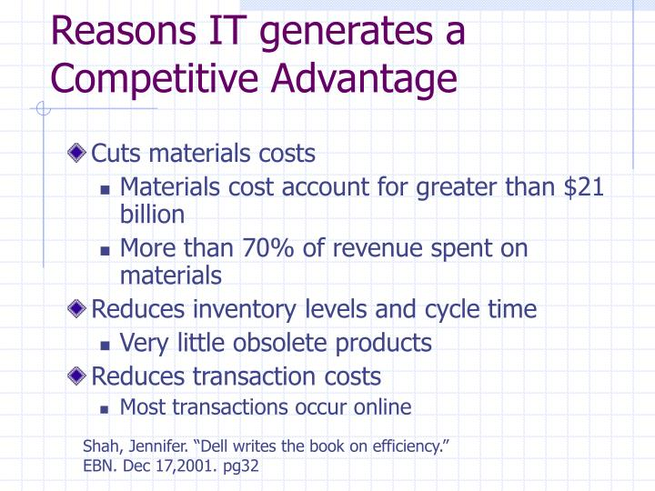 Reasons IT generates a Competitive Advantage
