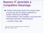 reasons it generates a competitive advantage1