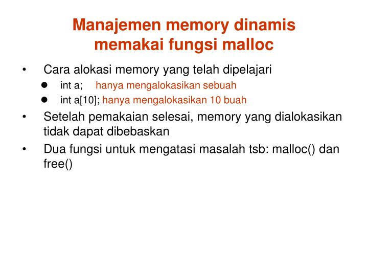 Manajemen memory dinamis