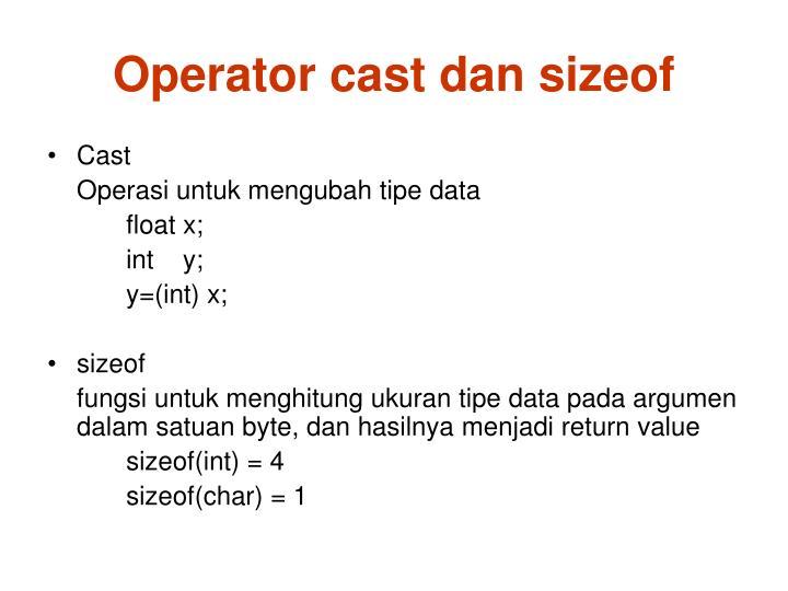 Operator cast dan sizeof