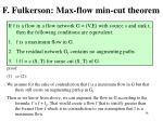 f fulkerson max flow min cut theorem