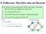 f fulkerson max flow min cut theorem2