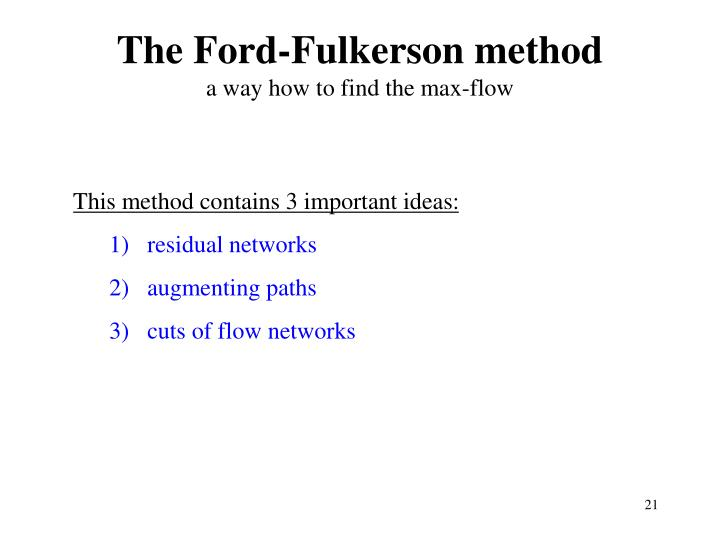 The Ford-Fulkerson method