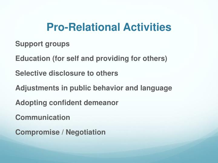 Pro-Relational Activities