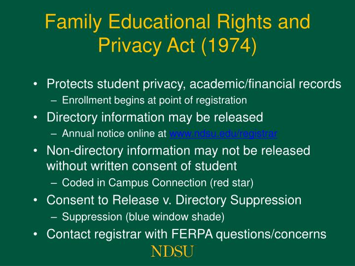Family Educational Rights and Privacy Act (1974)