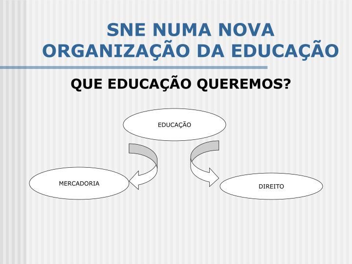 SNE NUMA NOVA ORGANIZAÇÃO DA EDUCAÇÃO