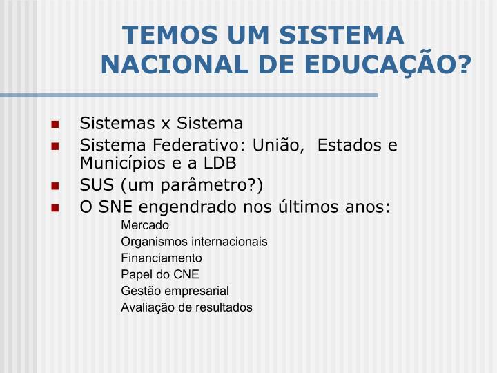 TEMOS UM SISTEMA NACIONAL DE EDUCAÇÃO?