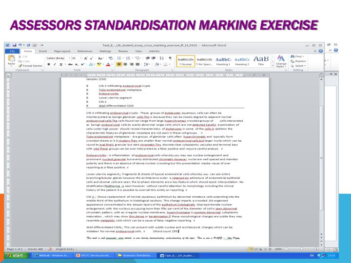 Assessors Standardisation marking exercise