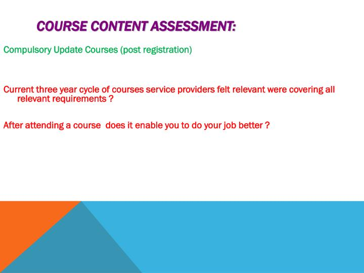Course Content Assessment: