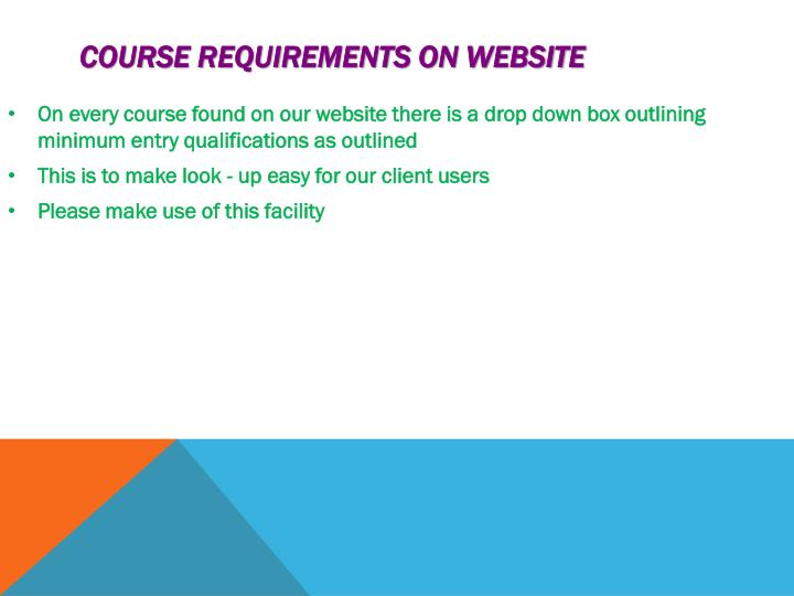 Course requirements on website