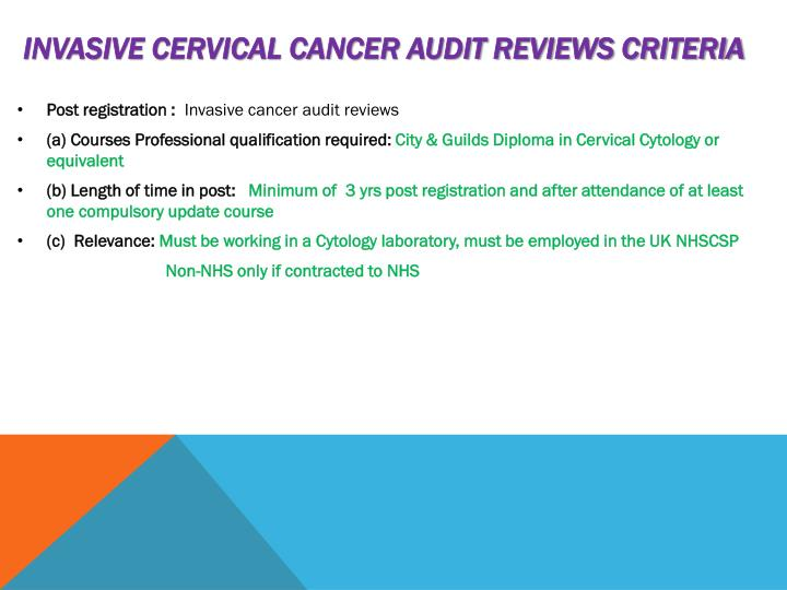 Invasive cervical cancer audit reviews criteria