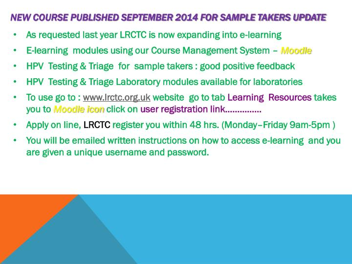 New course Published September 2014 for Sample takers Update