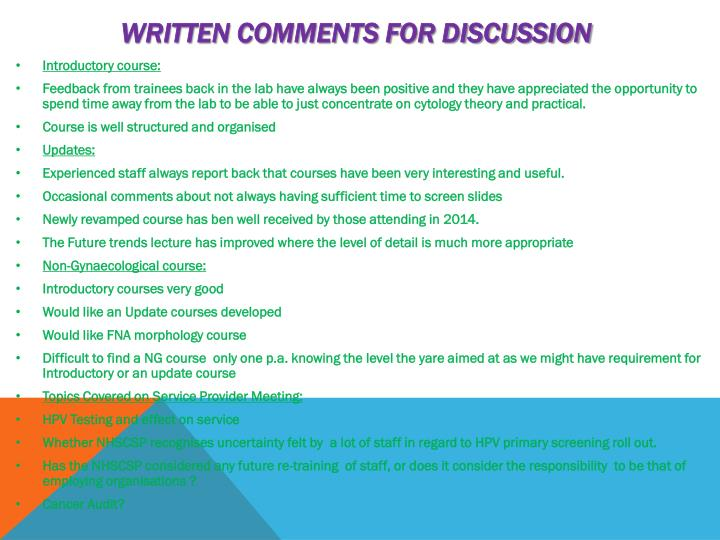 Written comments for discussion