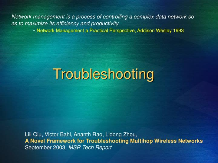 Network management is a process of controlling a complex data network so