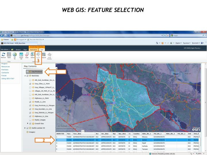 WEB GIS: Feature selection
