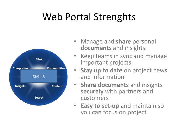 Web portal strenghts