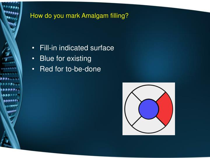How do you mark Amalgam filling?