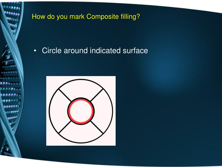 How do you mark Composite filling?