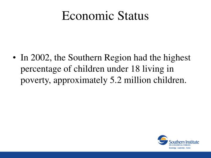 In 2002, the Southern Region had the highest percentage of children under 18 living in poverty, approximately 5.2 million children.