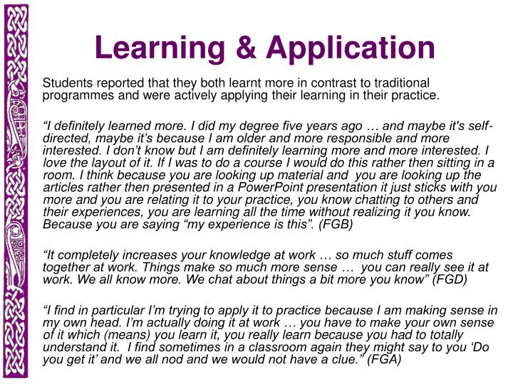 Learning & Application