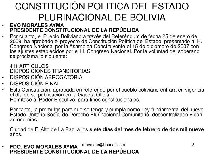 CONSTITUCIÓN POLITICA DEL ESTADO PLURINACIONAL DE BOLIVIA