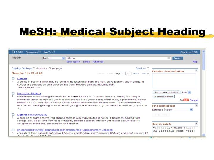 MeSH: Medical Subject Heading