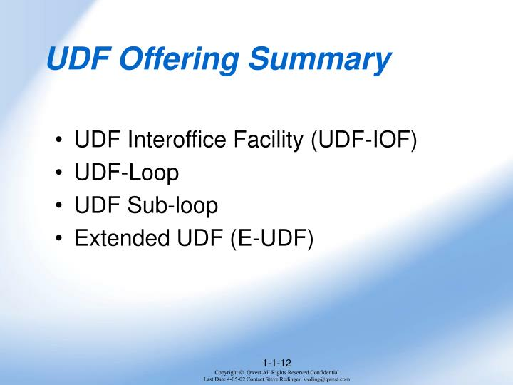 UDF Offering Summary