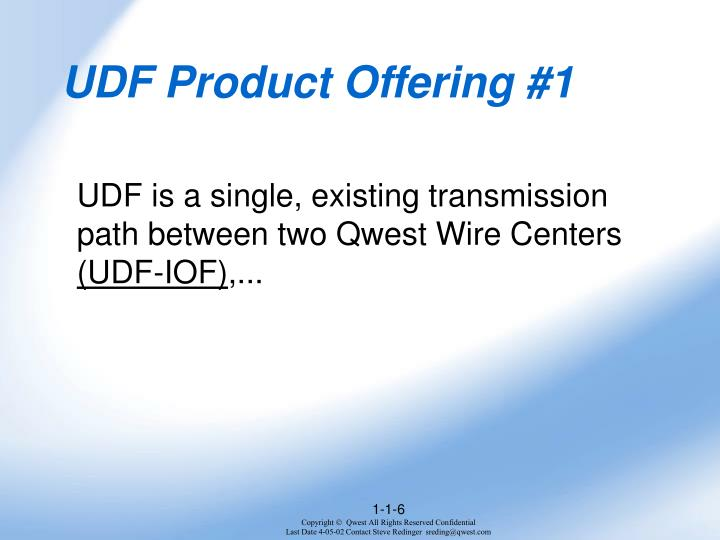 UDF Product Offering #1