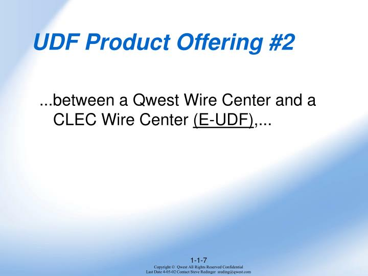 UDF Product Offering #2