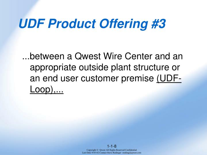 UDF Product Offering #3