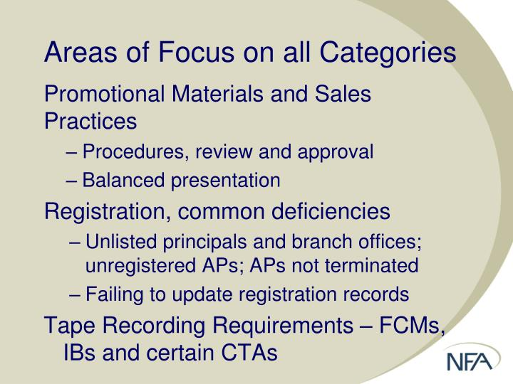 Areas of Focus on all Categories