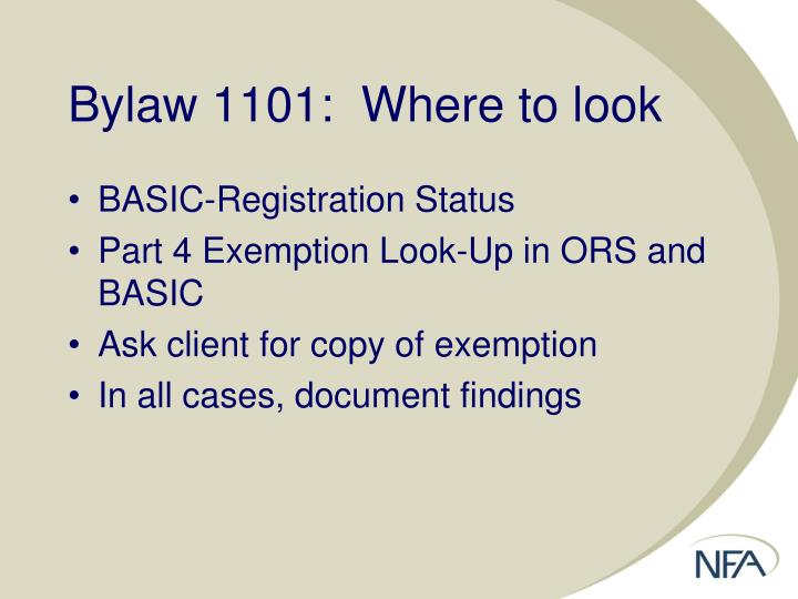 Bylaw 1101:  Where to look