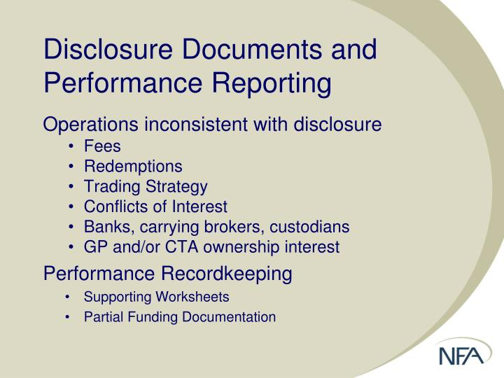 Disclosure Documents and Performance Reporting
