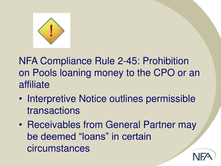 NFA Compliance Rule 2-45: Prohibition