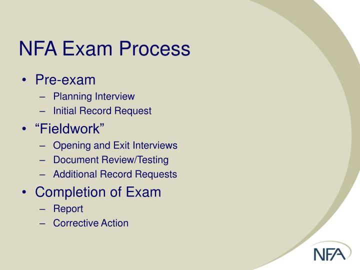 NFA Exam Process