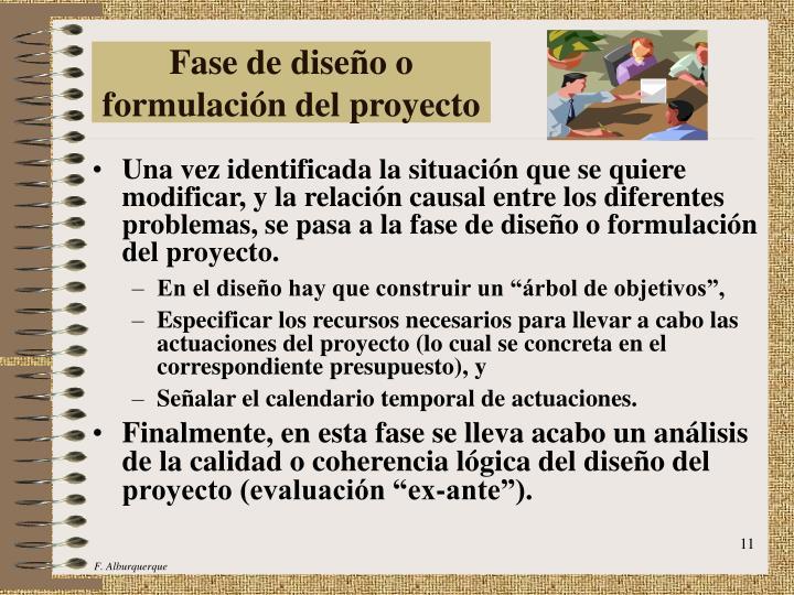 Fase de diseño o formulación del proyecto