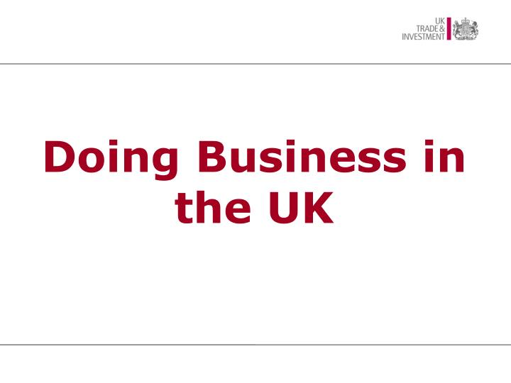 Doing Business in the UK